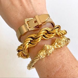 Set of 3 gold bracelets
